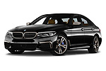 Stock pictures of low aggressive front three quarter view of a 2018 BMW 5 Series base 4 Door Sedan