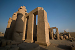 The Ramesseum, or memorial temple of Ramses II, on the West Bank of Luxor, Egypt, near the Nile River.