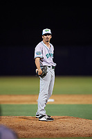Daytona Tortugas relief pitcher Andy Cox (14) during a Florida State League game against the Tampa Tarpons on May 18, 2019 at George M. Steinbrenner Field in Tampa, Florida.  Daytona defeated Tampa 7-6.  (Mike Janes/Four Seam Images)