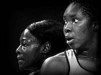 Steel's Jhaniele Fowler, right, and Mystic's Sonia Mkoloma in the ANZ netball championship match, Stadium Southland Velodrome, Invercargill, New Zealand, Monday, May 06, 2013. Credit:NINZ/Dianne Manson