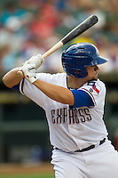 Round Rock Express catcher Jose Felix (12) at bat during the Pacific Coast League baseball game against the New Orleans Zephyrs on June 30, 2013 at the Dell Diamond in Round Rock, Texas. Round Rock defeated New Orleans 5-1. (Andrew Woolley/Four Seam Images)
