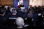 """© REMI OCHLIK/IP3; PARIS; FRANCE LE 04/04/06 - NICOLAS SARKOZY MINISTRE DE L INTERIEUR RECOIT A L HOTEL DE BEAUVAU L ENSEMBLE DES POLICIERS ET DES GENDARMES QUI SONT INTERVENUS LORS DE LA MANIFESTATION ANTI CPE DU 04 AVRIL ..The contrat premiere embauche (CPE), translated first employment contract, was a new form of employment contract pushed in spring 2006 in France by Prime Minister Dominique de Villepin. This employment contract, available solely to employees under 26, would have made it easier for the employer to fire employees by removing the need to provide reasons for dismissal for an initial """"trial period"""" of two years, in exchange for some financial guarantees for employees. ....The law has met heavy resistance from students, trade unions, and left-wing activists, sparking protests in February and March 2006 (and continuing into April) with hundreds of thousands of participants in over 180 cities and towns across France"""