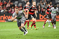 6th April 2021; Bankwest Stadium, Parramatta, New South Wales, Australia, Australian A League football, Western Sydney Wanderers versus Central Coast Mariners; Oliver Bozanic of Central Coast Mariners scores with the penalty kick in the 83rd minute to make it 2-2