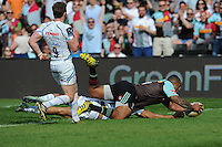 Kyle Sinckler of Harlequins scores a try during the Aviva Premiership match between Harlequins and Exeter Chiefs at The Twickenham Stoop on Saturday 7th May 2016 (Photo: Rob Munro/Stewart Communications)