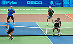 Bob and Mike Bryan play some soccer tennis with Brian Carroll and Chase Harrison of the Philadelphia Union at the Freedoms vs. Explorers WTT match in Villanova, PA on July 16, 2012