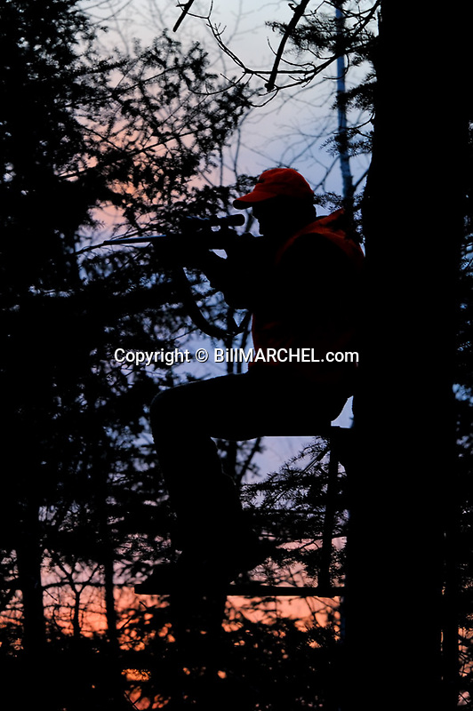 00273-039.14 White-tailed Deer Hunting (DIGITAL) Hunter with scoped rifle takes aim from tree stand at magic hour.  Silhouette.  V6L1
