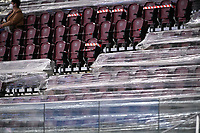 empty stadium seats pictured wrapped in plastic during the Womens International Friendly game between France and Switzerland at Stade Saint-Symphorien in Longeville-lès-Metz, France.