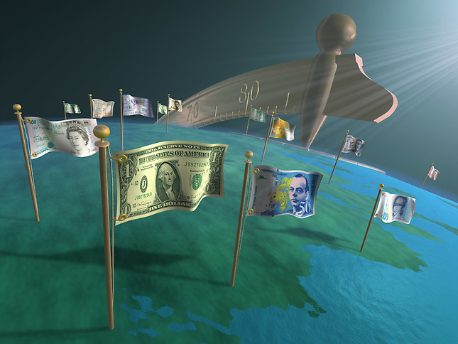 Money flags on globe