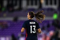 ORLANDO CITY, FL - FEBRUARY 24: Alex Morgan #13 of the USWNT runs back toward midfield during a game between Argentina and USWNT at Exploria Stadium on February 24, 2021 in Orlando City, Florida.
