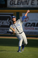 Josh Adams (25) of the UC Santa Barbara Gauchos makes a throw between innings of a game against the Cal State Long Beach Dirtbags at Blair Field on April 1, 2016 in Long Beach, California. UC Santa Barbara defeated Cal State Long Beach, 4-3. (Larry Goren/Four Seam Images)
