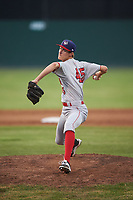 Auburn Doubledays relief pitcher Jackson Tetreault (45) delivers a warmup pitch during a game against the Batavia Muckdogs on July 6, 2017 at Dwyer Stadium in Batavia, New York.  Auburn defeated Batavia 4-3.  (Mike Janes/Four Seam Images)