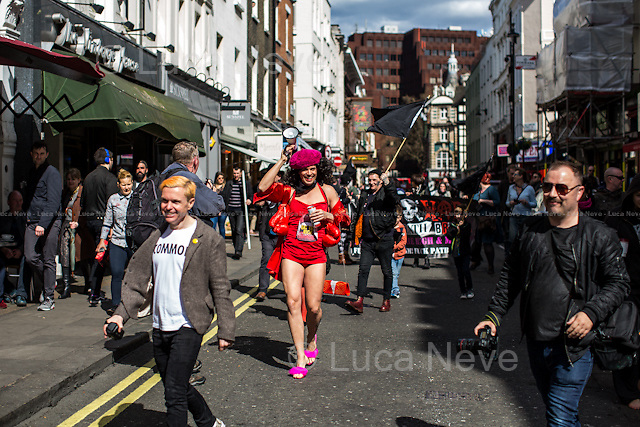 London, 11/04/2015. Today, Adam Clifford (aka Jimmy Kunt), the Class War Candidate for the City of London and Westminster in the upcoming British General Election (7th of May 2015), did his election rounds in Soho.<br /> <br /> For more information please click here: http://www.classwarparty.org.uk/