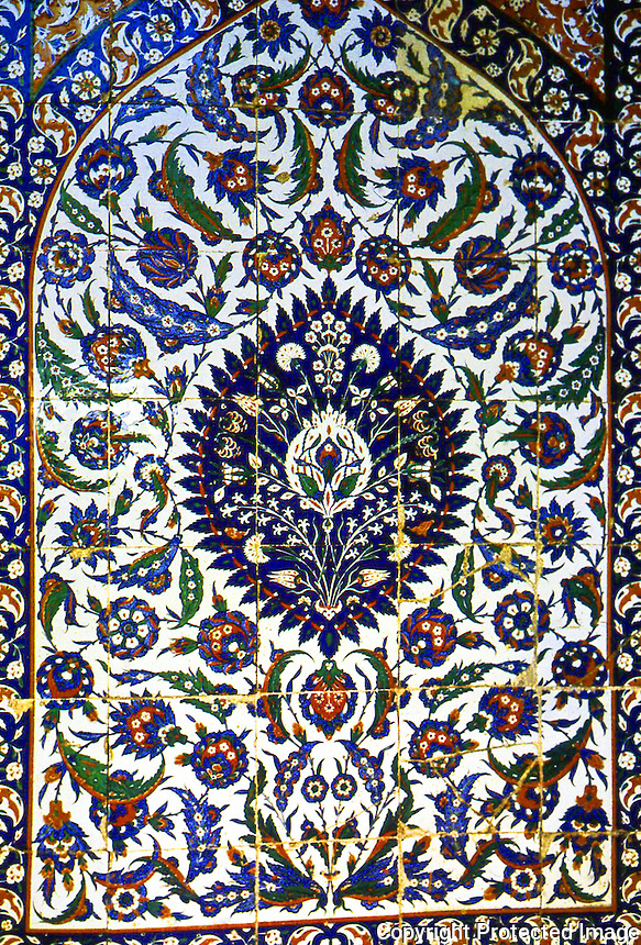 "World Civilization:  Topkapi--detail of tile panels of the Imperial Baths of the Harem, 1574-75.  ""Gives a graphic idea of the brilliance of the Harem's decoration under Murad  III."