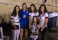 PASADENA, CA - AUGUST 4: Alyssa Naeher #1 poses with the family of Gianni Infantino during a game between Ireland and USWNT at Rose Bowl on August 3, 2019 in Pasadena, California.