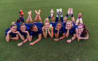 TOKYO, JAPAN - JULY 20: Kelley O'Hara #5, Alex Morgan #13, Kristie Mewis #6, Lynn Williams #21, Rose Lavelle #16 and Samantha Mewis #3 of the USWNT pose for a photo after a training session at the practice fields on July 20, 2021 in Tokyo, Japan.