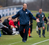 Virginia head coach George Gelnovatch yells to a referee during the ACC Finals at the Maryland SoccerPlex in Boyds, MD.  Maryland defeated Virginia, 1-0, to win the title.