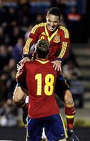 Spain's Canales (b) and Rodrigo celebrate goal during an International sub21 match. March 21, 2013.(ALTERPHOTOS/Alconada) /NortePhoto