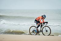 defending champion Ceylin del Carmen Alvarado (NED/Alpecin-Fenix) racing next to the seashore<br /> <br /> UCI 2021 Cyclocross World Championships - Ostend, Belgium<br /> <br /> Women's Race<br /> <br /> ©kramon