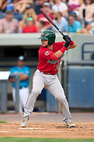 Fort Wayne TinCaps Tyler Malone (28) bats during a game against the West Michigan Whitecaps on August 21, 2021 at LMCU Ballpark in Comstock Park, Michigan.  (Mike Janes/Four Seam Images)