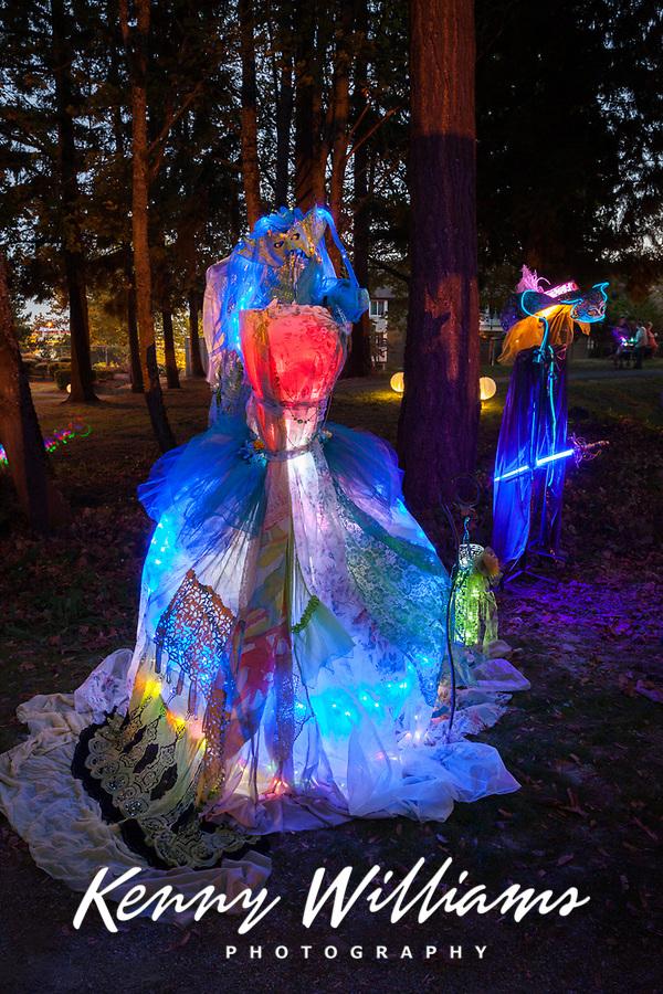 Lit Dress Art Installation, Arts A Glow Lantern Festival, Dottie Harper Park, Burien, Washington State, WA, America, USA.