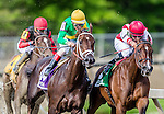 MAY 20, 2016: Go Maggie Go #5, ridden by Brian Hernandez, is being challenged by, Kinsley Kisses #10, Ridden by John Velazquez, around the final turn for home, and eventually wins the Black-Eyed Susan Stakes Race, at Pimlico Race Course, on May 20, 2016 in Baltimore, Maryland (Photo by Douglas DeFelice/Eclipse Sportswire/Getty Images)