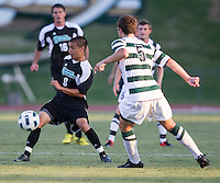 Number 8 ranked Charlotte beats number 16 ranked Coastal Carolina 1-0 on a goal by Thomas Allen in the 101st minute during the second overtime.  Justin Portillo (8), Thomas Allen (5)