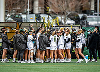 17 April 2021: The UVM Women's Lacrosse Team prepares to face the UMBC Retrievers at Virtue Field in Burlington, Vermont. The Lady Cats fell to the Retrievers 11-8 in the America East Women's Lacrosse matchup. Mandatory Credit: Ed Wolfstein Photo *** RAW (NEF) Image File Available ***