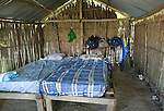 Inside a basic, bamboo hut on Isla Pelikano, San Blas Islands, Kuna Yala, Panama