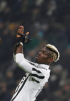 Juventus' Paul Pogba applauds to fans at the end of the Italian Serie A football match between Juventus and Roma at Juventus Stadium. Juventus won 1-0.