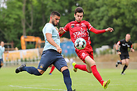 Deniz Undav (9) of Union and Nico Verdoodt (3) of Tempo in action during  a preseason friendly soccer game between Tempo Overijse and Royale Union Saint-Gilloise, Saturday 29th of June 2021 in Overijse, Belgium. Photo: SPORTPIX.BE   SEVIL OKTEM