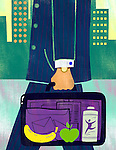 Illustrative image of fruits in businessman's briefcase representing healthy lifestyle