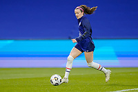 LE HAVRE, FRANCE - APRIL 13: Rose Lavelle #16 of the United States warming up before a game between France and USWNT at Stade Oceane on April 13, 2021 in Le Havre, France.