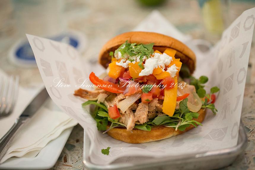 Korean Chicken BBQ Torta<br /> The Longboard<br /> Cruz Bay, St. John<br /> US Virgin Islands