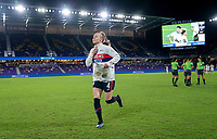 ORLANDO, FL - FEBRUARY 24: Becky Sauerbrunn #4 of the USWNT runs to the huddle before a game between Argentina and USWNT at Exploria Stadium on February 24, 2021 in Orlando, Florida.