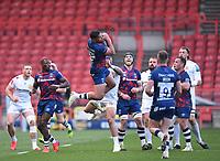 23rd April 2021; Ashton Gate Stadium, Bristol, England; Premiership Rugby Union, Bristol Bears versus Exeter Chiefs; Charles Piutau of Bristol Bears beats Jack Nowell of Exeter Chiefs to the high ball