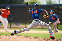GCL Mets pitcher Adrian Aybar (13) during a Gulf Coast League game against the GCL Astros on August 10, 2019 at FITTEAM Ballpark of the Palm Beaches Training Complex in Palm Beach, Florida.  GCL Astros defeated the GCL Mets 8-6.  (Mike Janes/Four Seam Images)