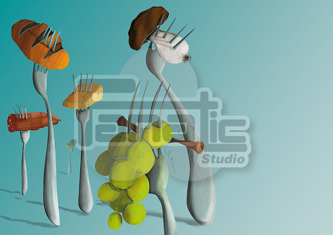 Illustration of various food items inserted in forks against green background