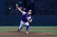 CHAPEL HILL, NC - FEBRUARY 19: Ohjiro Motoki #40 of High Point University pitches the ball during a game between High Point and North Carolina at Boshamer Stadium on February 19, 2020 in Chapel Hill, North Carolina.