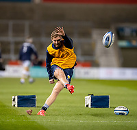 20th November 2020; AJ Bell Stadium, Salford, Lancashire, England; English Premiership Rugby, Sale Sharks versus Northampton Saints;  Rob du Preez of Sale Sharks warms up with kicking practice but he starts the game on the bench
