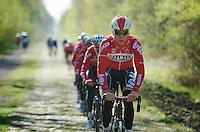 Marcel Sieberg (DEU/Lotto-Belisol) over the Bois de Wallers-Arenberg<br /> <br /> 2014 Paris-Roubaix reconnaissance