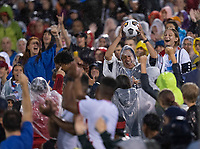 EAST HARTFORD, CT - JULY 1: A fan catches a ball during a game between Mexico and USWNT at Rentschler Field on July 1, 2021 in East Hartford, Connecticut.