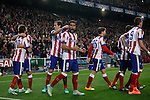 Atletico de Madrid´s Raul Garcia celebrates a goal with his mates during Champions League soccer match between Atletico de Madrid and Olympiacos at Vicente Calderon stadium in Madrid, Spain. November 26, 2014. (ALTERPHOTOS/Victor Blanco)