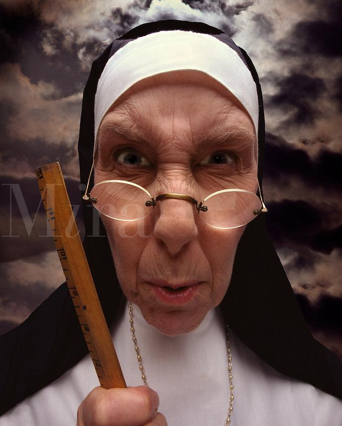 Strict Catholic nun.
