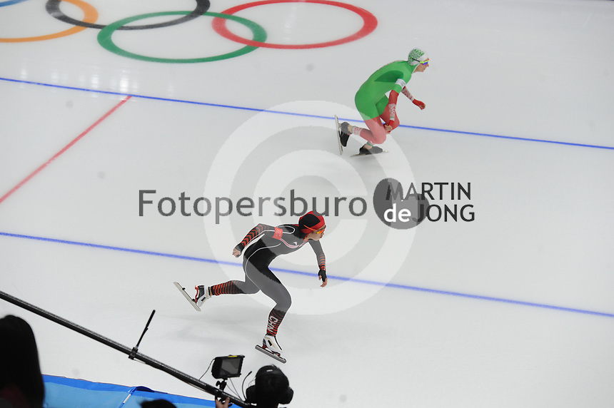 OLYMPIC GAMES: PYEONGCHANG: 18-02-2018, Gangneung Oval, Long Track, 500m Ladies, Ruining Tian (CHN), Kseniya Saouskaya (BLR), ©photo Martin de Jong