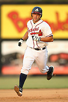 Danville Braves catcher Phillip Britton rounds the bases following his solo home run in the bottom of the second inning versus the Greeneville Astros at American Legion Field in Danville, VA, Saturday, July 1, 2006.