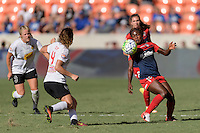 Houston, TX - Sunday Oct. 09, 2016: Elizabeth Eddy, Francisca Ordega during the National Women's Soccer League (NWSL) Championship match between the Washington Spirit and the Western New York Flash at BBVA Compass Stadium. The Western New York Flash win 3-2 on penalty kicks after playing to a 2-2 tie.