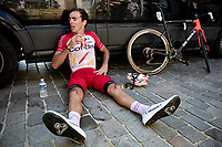 Christophe Laporte (FRA/Cofidis) getting hydrated & some fast sugars in post-finish<br /> <br /> 17thBenelux Tour 2021 (2.UWT)<br /> (Final) Stage 7: from Namur to Geraardsbergen (178km)<br /> <br /> ©kramon