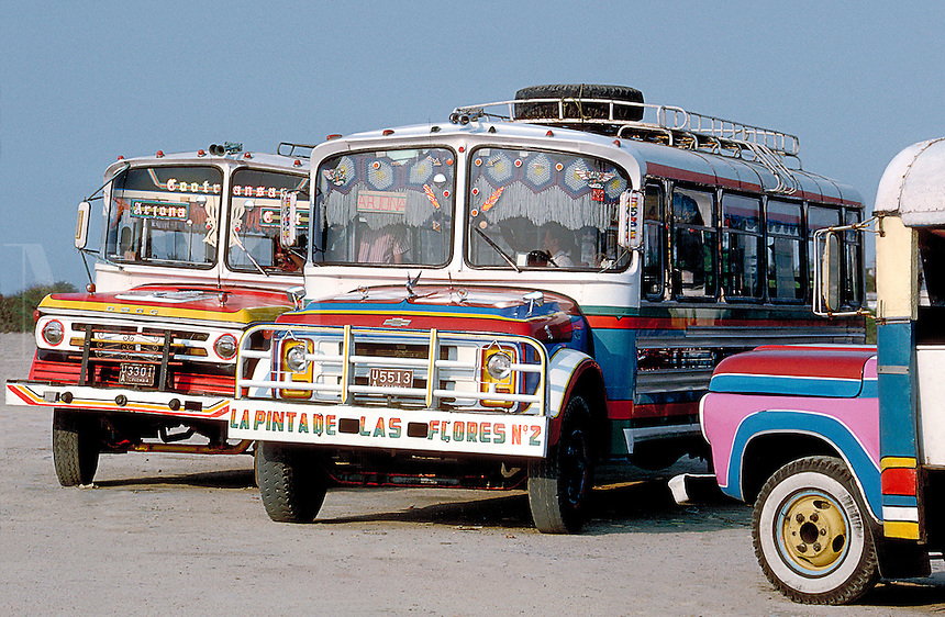 Decorative buses in South America