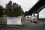 A sign displays Amazon.com Inc. signage, during the company's two-day Prime Day sale, outside of an Amazon delivery station on Tuesday, Oct. 13, 2020 in Kearny, NJ. Photograph by Michael Nagle