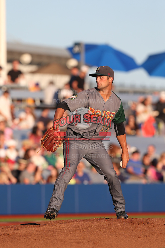 Dylan Craig (18) of the Boise Hawks pitches during a game against the Hillsboro Hops at Ron Tonkin Field on August 21, 2015 in Hillsboro, Oregon. Boise defeated Hillsboro, 7-1. (Larry Goren/Four Seam Images)